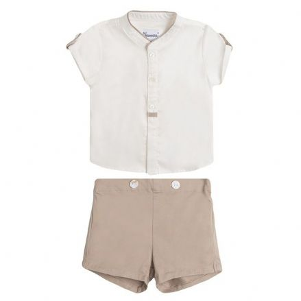 Boys Camel Shorts and Shirt Set